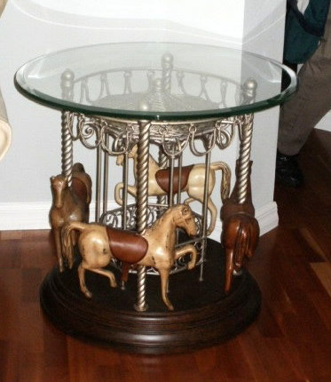 End Table 4 Horse Carousel Round  Dark