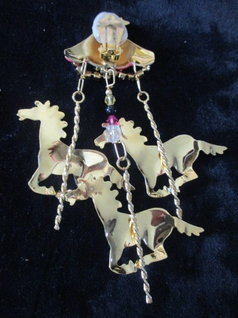 Lunch at The Ritz Carousel Earrings 22K Gold, Zebra, Black & White Carousel Horses