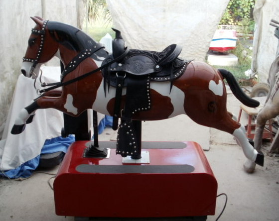 Custom Sandy Coin Operated Horse Tri Paint