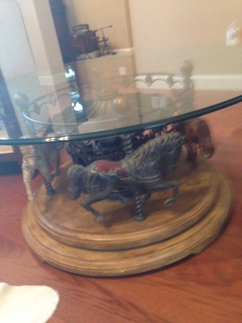 Blond 4 Horse Carousel Coffee Table