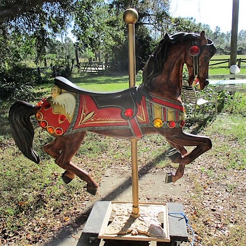 Carousel Jumper, Contemporary Carving, Bay Horse