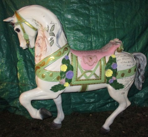 "Shabby Chic Flowered Stander Carousel Horse    60"" Reproduction"