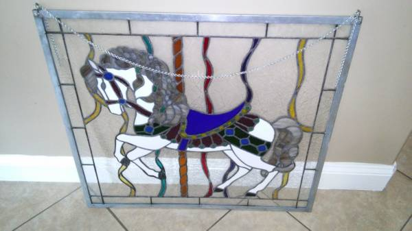 "Large Stained Glass Carousel Horse Prancer 31""x 28"""