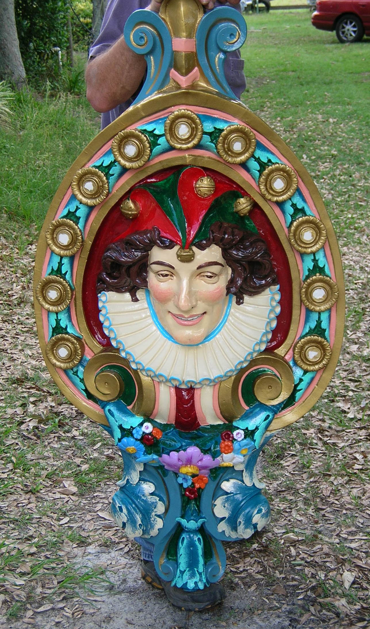 Carousel Dentzel Jester Head Medallion Custom Painted