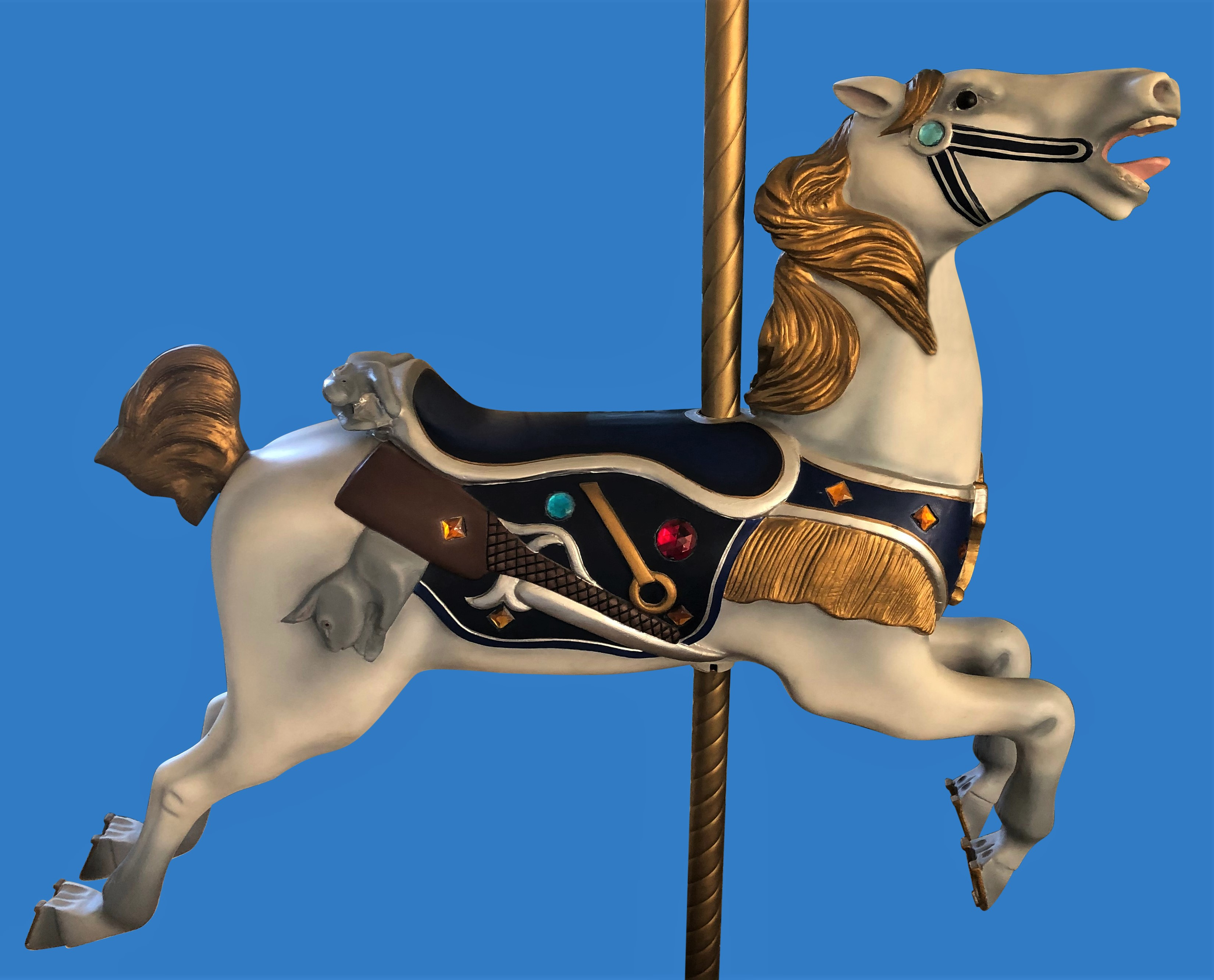 Abilene Parker Hunter's w/ Rifle & Rabbit  Mane Outer Row Carousel Horse