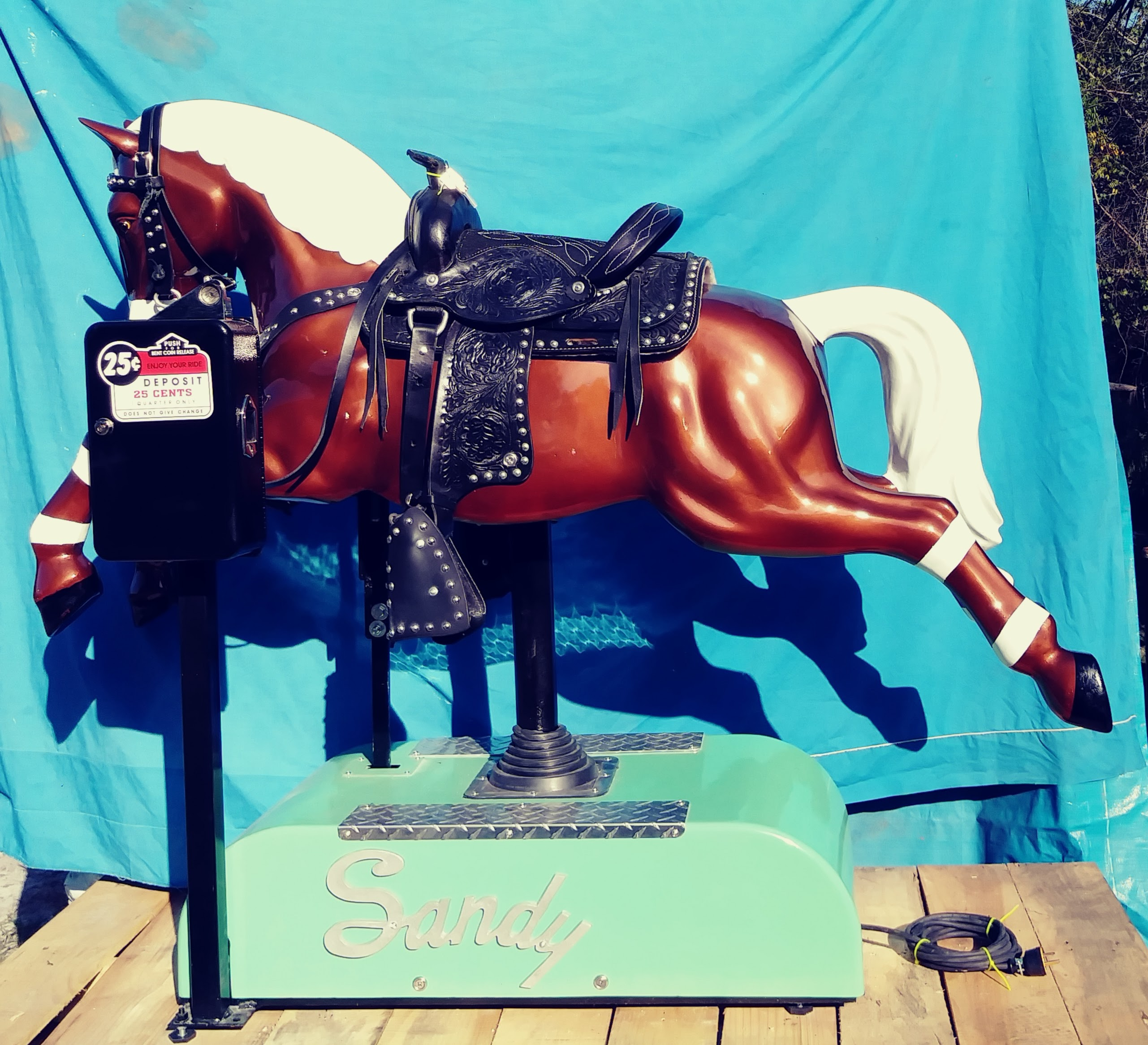 Metallic Brown Sandy Coin Operated Horse