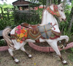 Dentzel Stander, Flowered Horse with Shield, Sword, Roached Mane, Jeweled