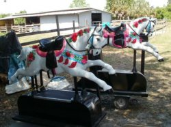 Custom Flowered Coin Operated  kiddie Ride Horse