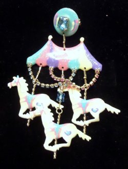 Lunch at The Ritz Carousel Pin 22K  Gold , Pastels, Pink, White, Aqua