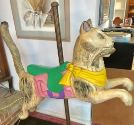 Carousel Cat Contemporary Wood Carving