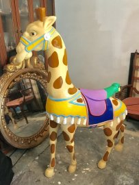 Standing Carousel Giraffe Contemporary Wood Carving