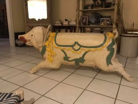 "Antique European Carousel Pig 68""long"
