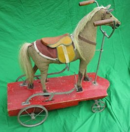 Antique Peddle Hobby Horse on Platform