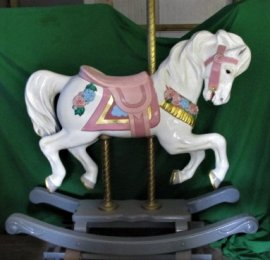 Carousel Rocking Horse with Flowers, Adult Size  Fiberglass B