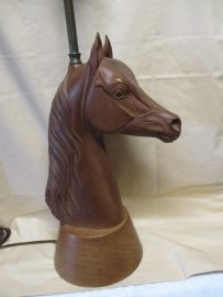 Mid Century Wood Carved Horse Head Lamp