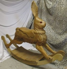 Vintage Wood Rocking Carousel Rabbit