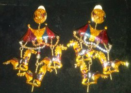 Lunch at The Ritz Carousel Earrings 22K  Gold , Navy, Berry