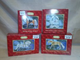 4 PIECEs  OF BREYER CHRISTMAS  ORNAMENTS - 1999 THROUGH 2011