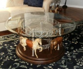 4 Horse Carousel Round Rotating Carousel Table Dark tones