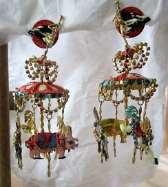 Lunch at The Ritz Carousel Earrings 22K Gold, Full Chandelier Carousel With Ram, Pig, Zebra, & Horse