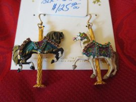 Carousel Earrings by Lunch at the Ritz Single Horse, one black , one White