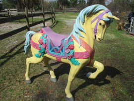 "Flowered Stander Carousel Horse    60"" Reproduction Tan, Pink, Lavander"