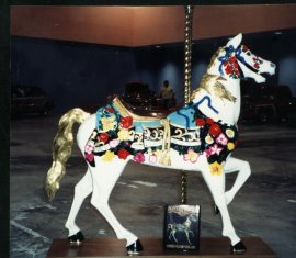 Flowered Illions Stander, Unpainted Carousel Horse 60 inches tall