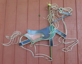 Curtis Jere  Horse Carousel wire sculpture, Wall Hanging