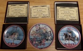 Carrousel Triptych P Buckley Moss ,Anna Perrena Carousel Collectors Plates -