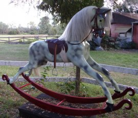 Haddon Bow English Rocking Horse Dapple Gray 50 inches tall