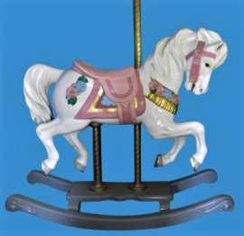 Carousel Rocking Horse with Flowers, Adult Size  Fiberglass