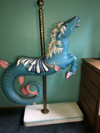 Carousel Hippocampus Seahorse Contemporary Wood