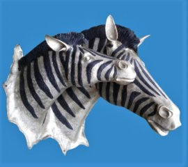 Zebra Mare and Foal Bronze Head Sculpture