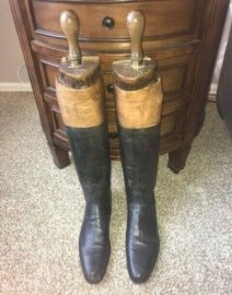 Late 20th Century English Antique Leather Tall Riding Boots- A Pair